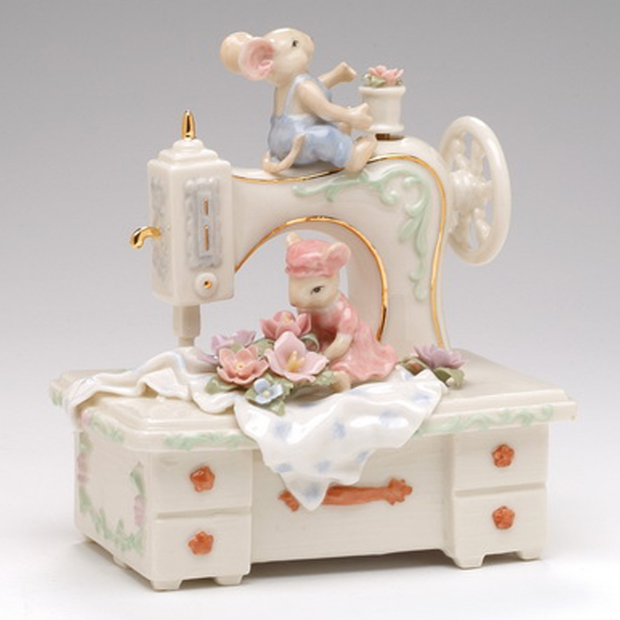 Musical Porcelain Mice on Sewing Machine
