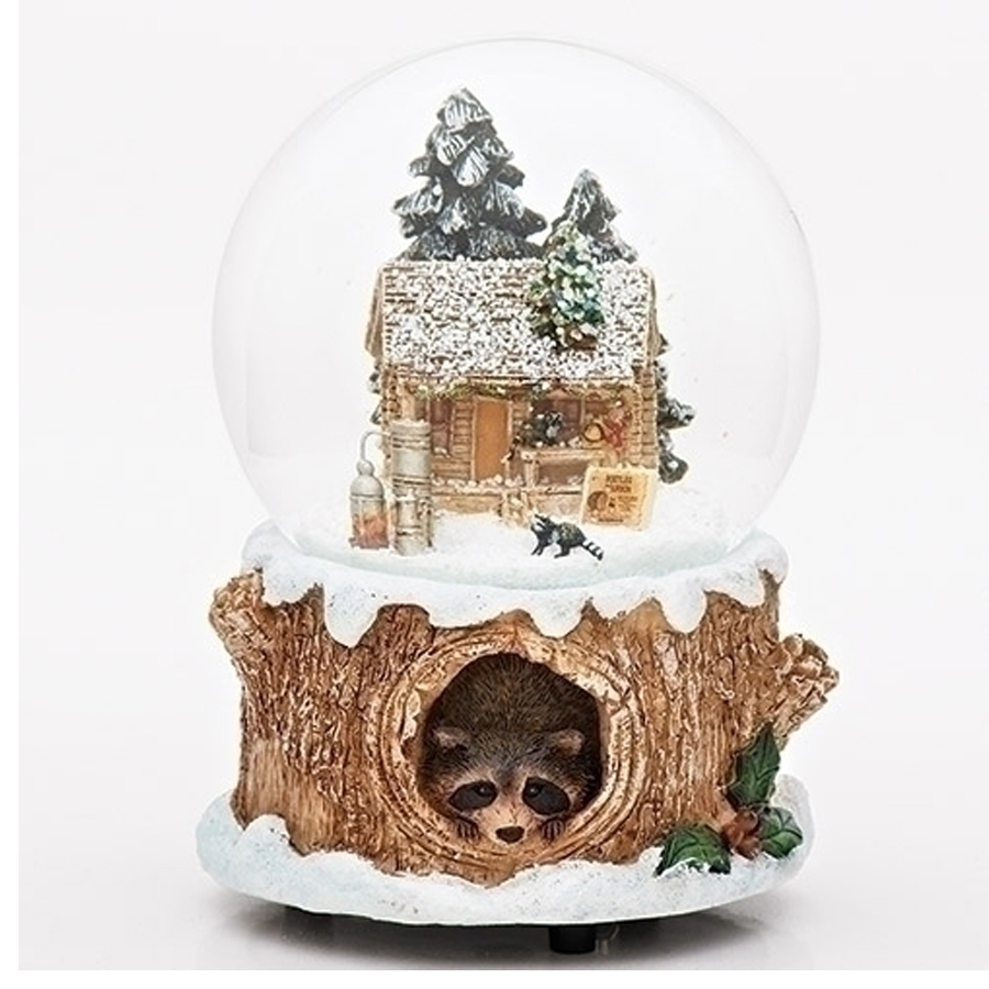 Raccoon log cabin musical water globe