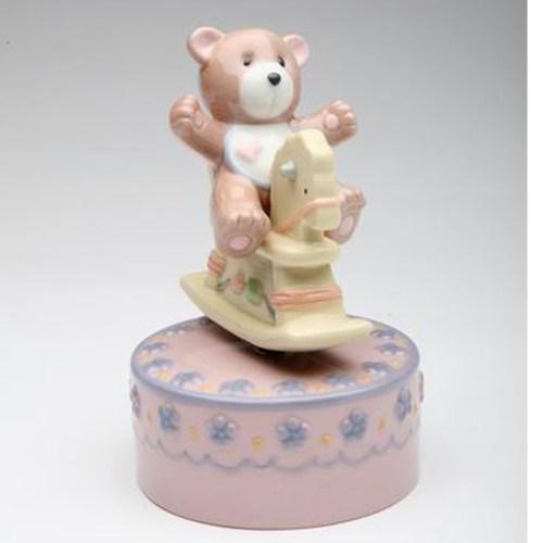 Teddy Bear on Rocking horse-Pink