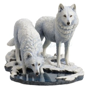 2 white wolves in snow by a stream-Winter Warriors