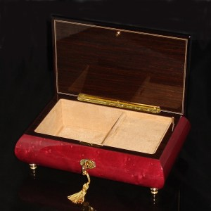 Italian Inlaid Musical Jewelry Box 02CVM Wine Red opened