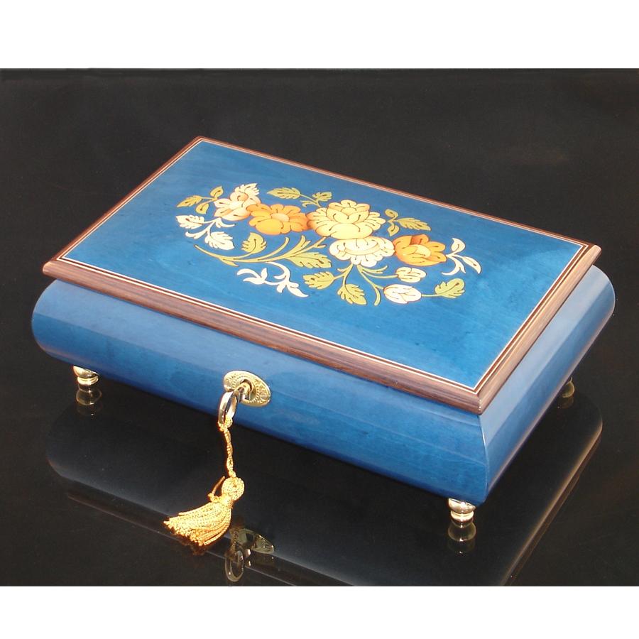 Italian Inlaid Musical Jewelry Box 02CF Blue brown trim