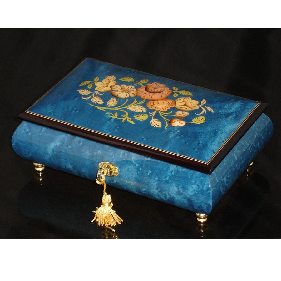 Italian Inlaid Musical Jewelry Box 02CF Dark Blue