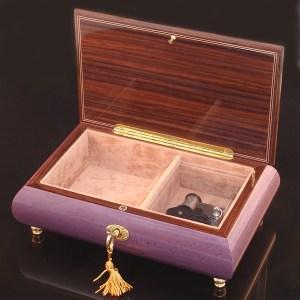 Italian Inlaid Musical Jewelry Box 02CF Plum opened no cover