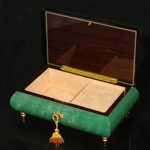 Italian Inlaid Musical Jewelry Box 02CVM Green opened