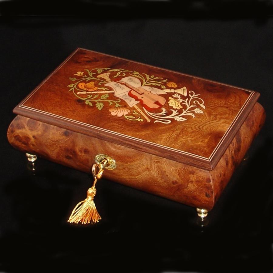 Italian Inlaid Musical Jewelry Box 02CVM Olmo