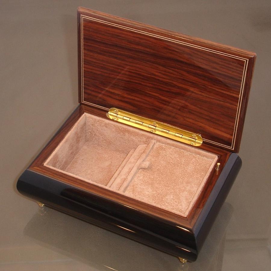 Italian Jewelry Box Red Rose 04 opened