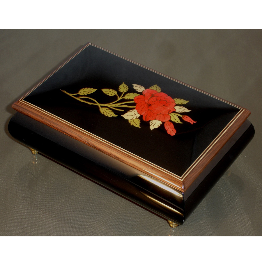 Italian Jewelry Box Red Rose 04
