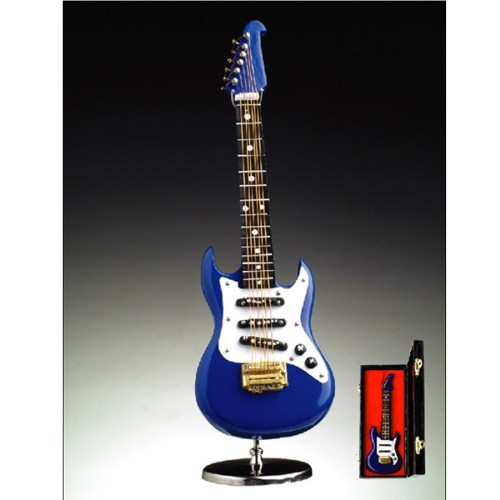 Miniature Blue Electric Guitar with stand and case GO8