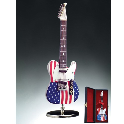 Miniature American Flag Electric Guitar with stand and case