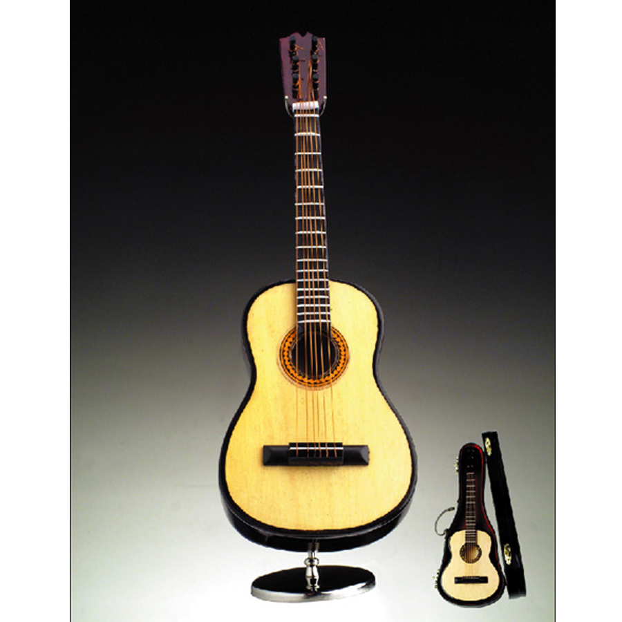 Miniature 10 in Folk Guitar with stand and case A7G-H