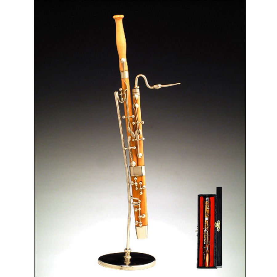Miniature natural Wood Bassoon with stand and case