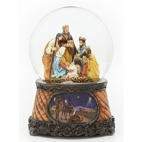 Nativity musical globe with Wise men base