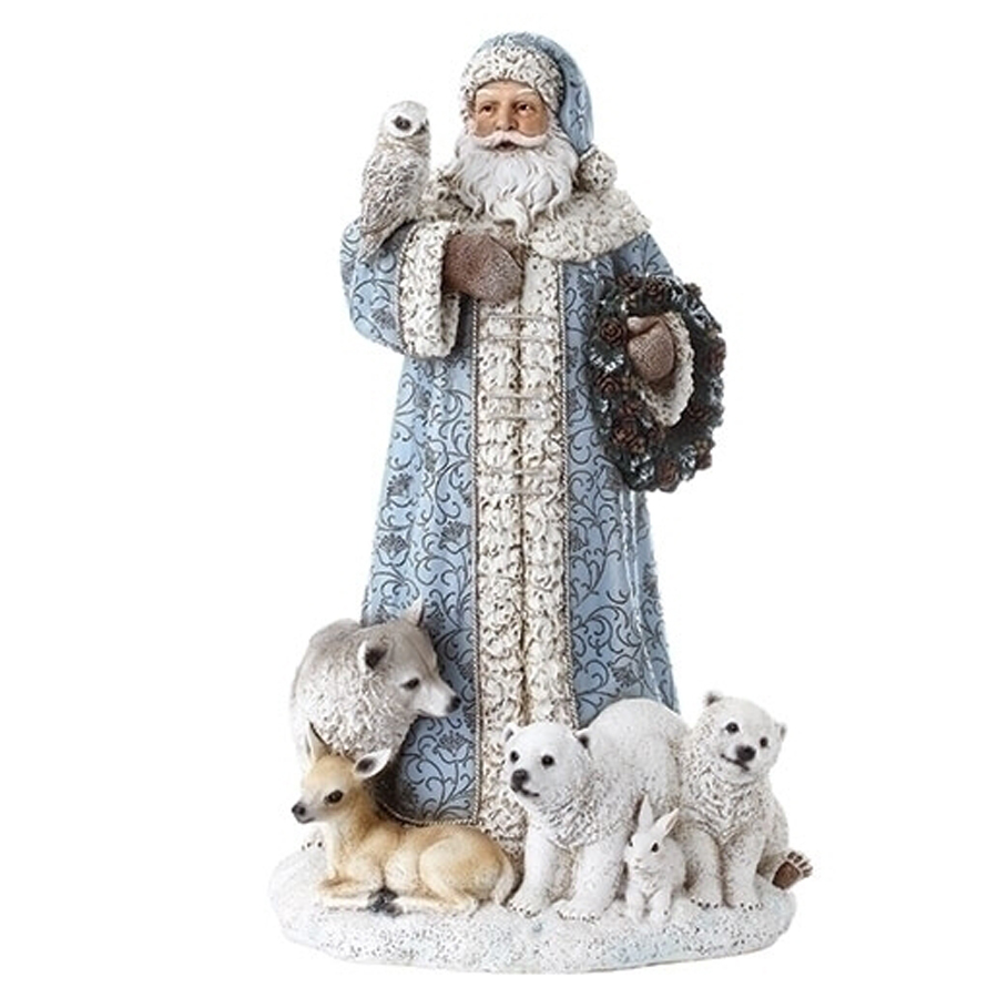 Blue Santa with arctic animals