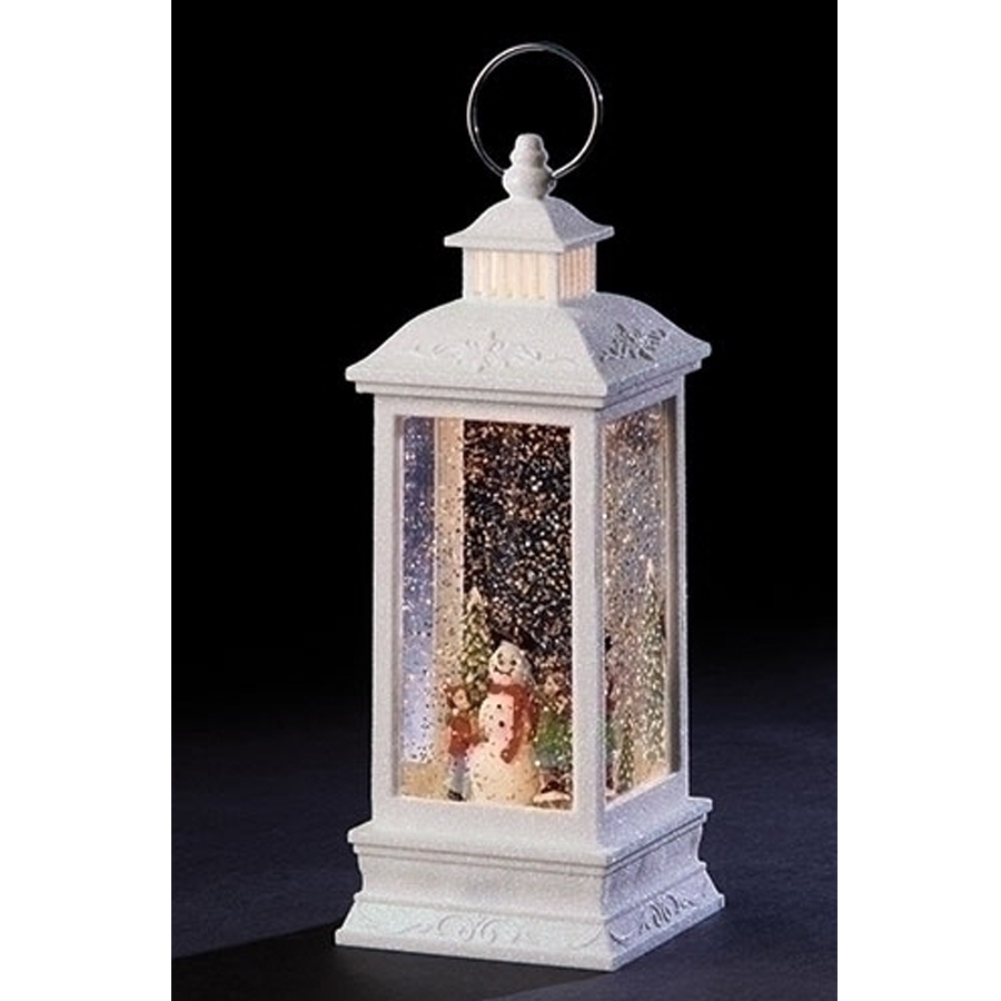 Large white lantern with children, snowman, lights and automated wsirl glitter