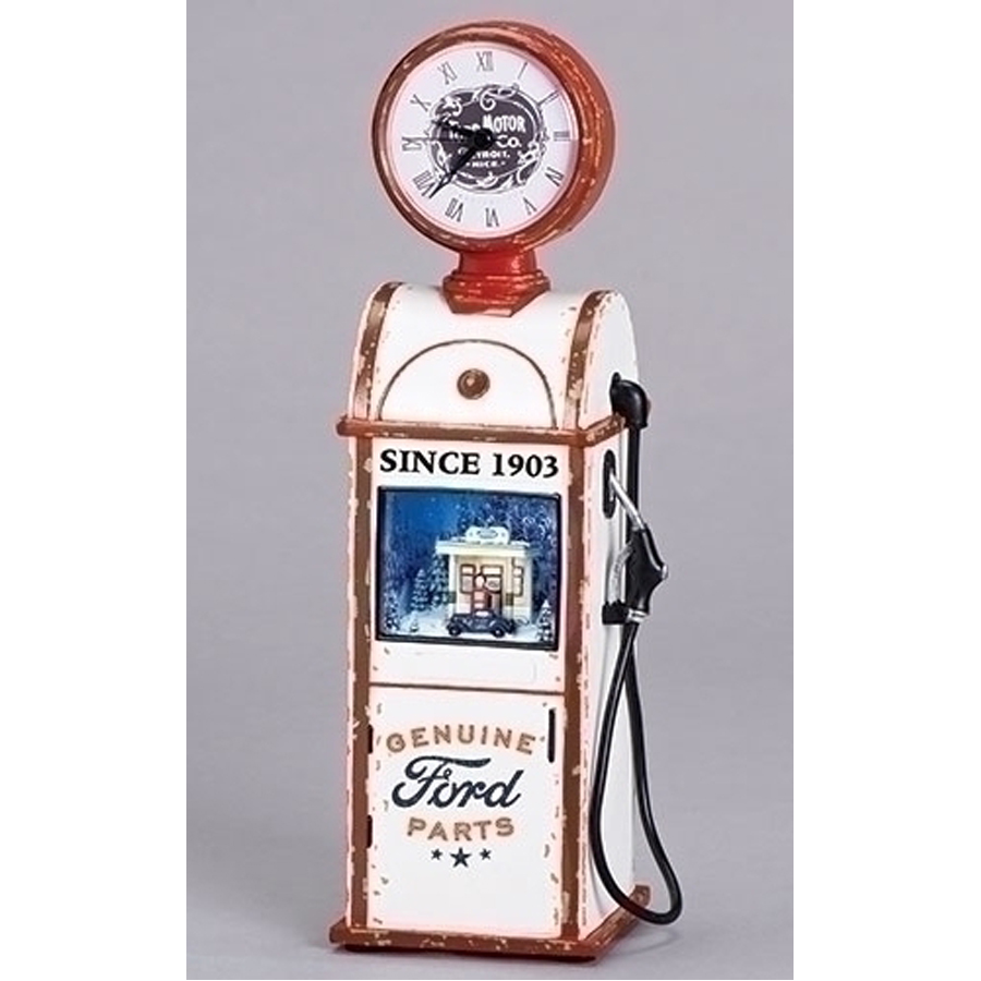 Extra Large Retro Gas Pump with clock and lighted rotating musical scene inside