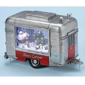 Retro Airstream musical with lighted animated Christmas scene inside