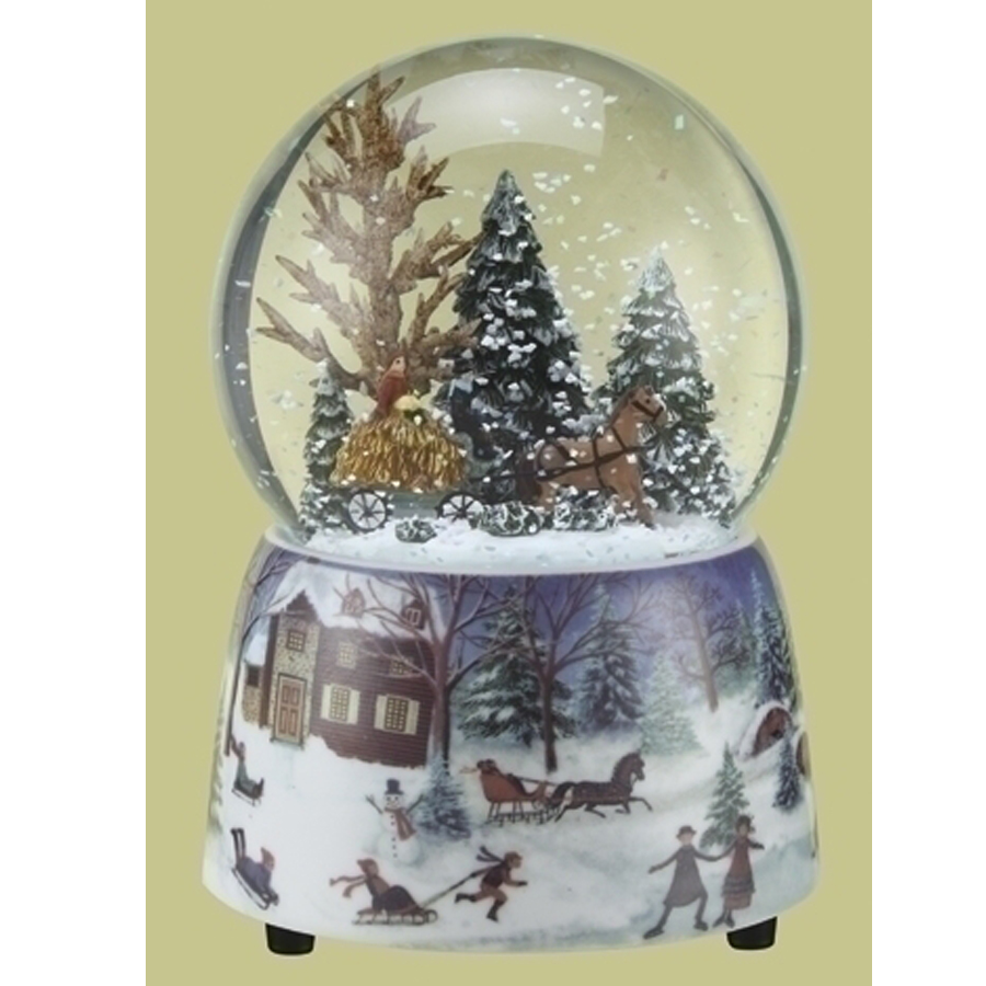 Musical Snow Globe with a hayride winter scene inside porcelain scenic base