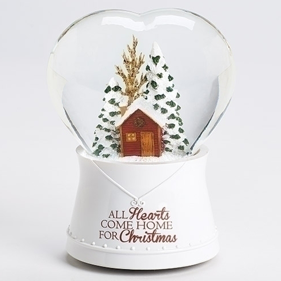 All Hearts come Home for Christmas heart shaped musical snow globe