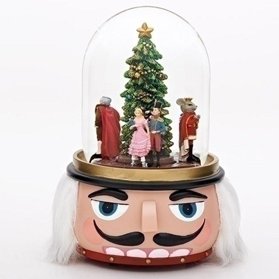 Nutcracker musical globe rotating characters inside and with nutcracker head for a base