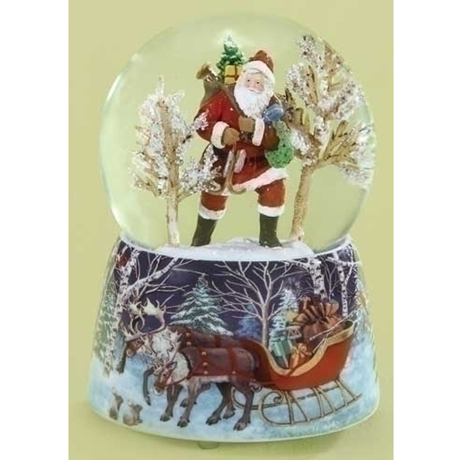 Musical Santa through trees globe porcelain base