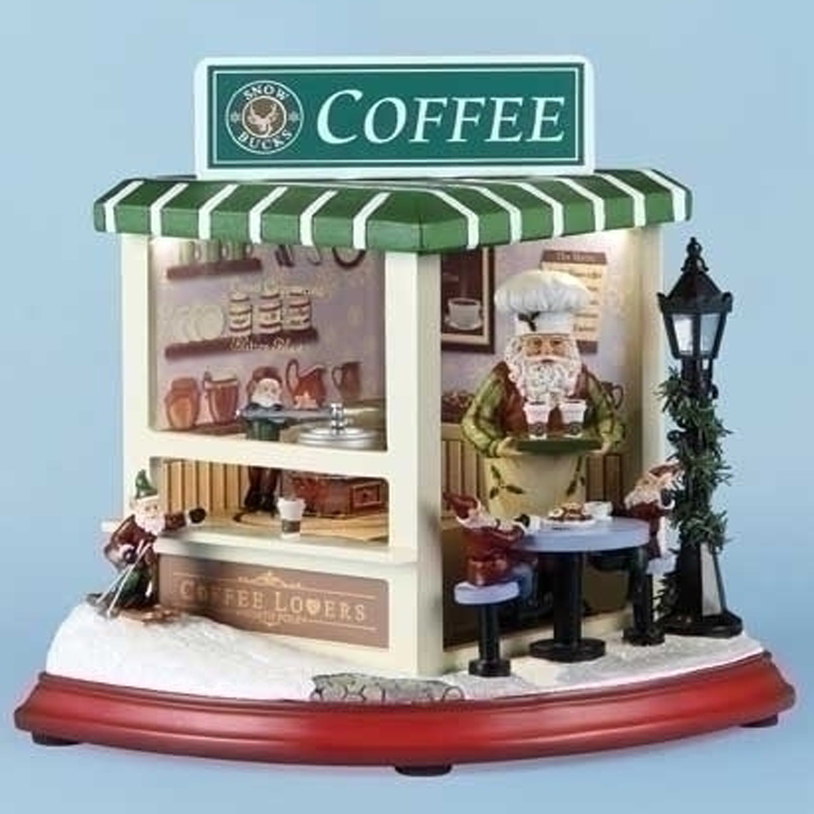 Large Snow Bucks Musical Scene with Santa and Elves serving coffee