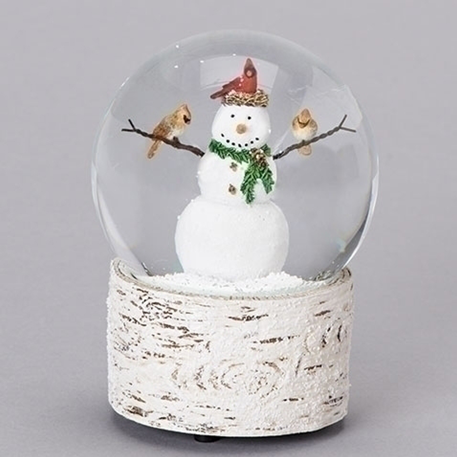 Musical Snowman with Cardinals globe