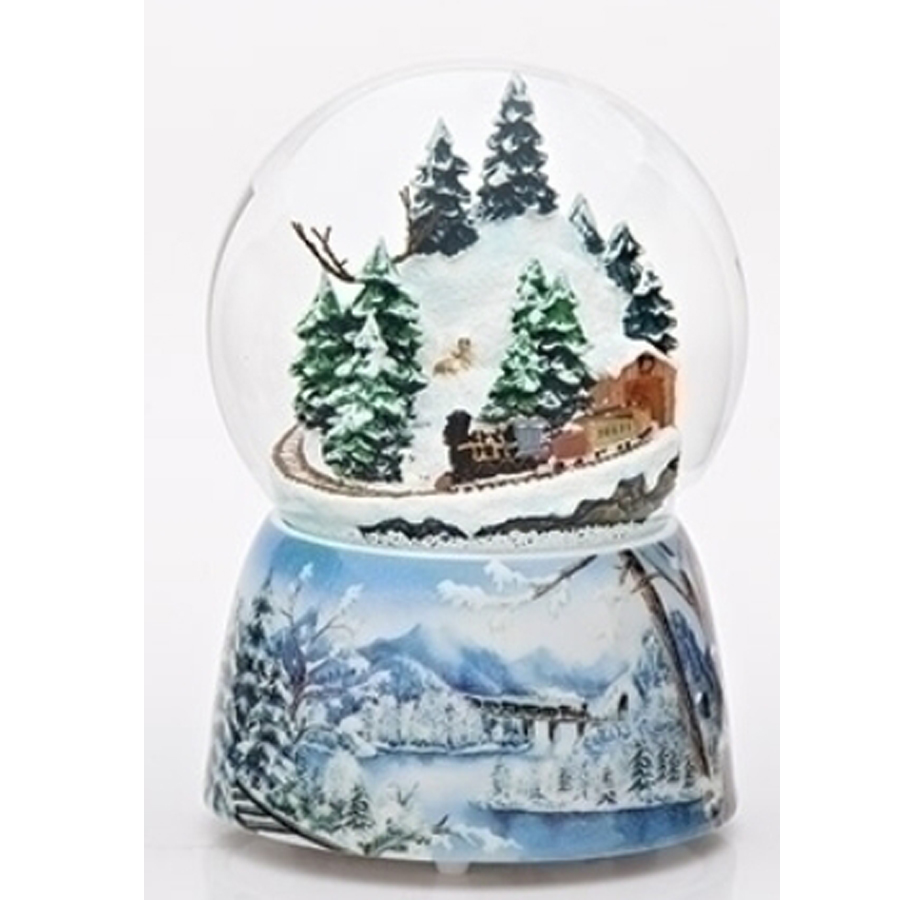 Train on a snow covered mountain inside the musical globe with blue winter scenebase