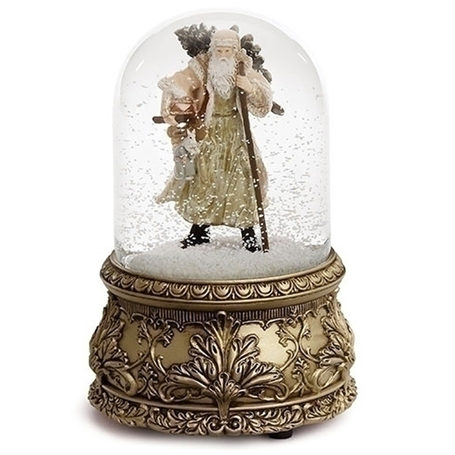St Nick musical water globe with gold base