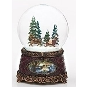 Sleigh Ride musical water globe with vintage base