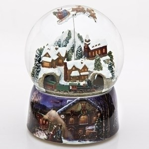 Train Globe with Santa over village-large-animated-musical