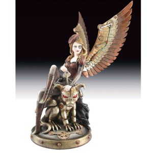 Steampunk-Lady-with-Monster-figurine