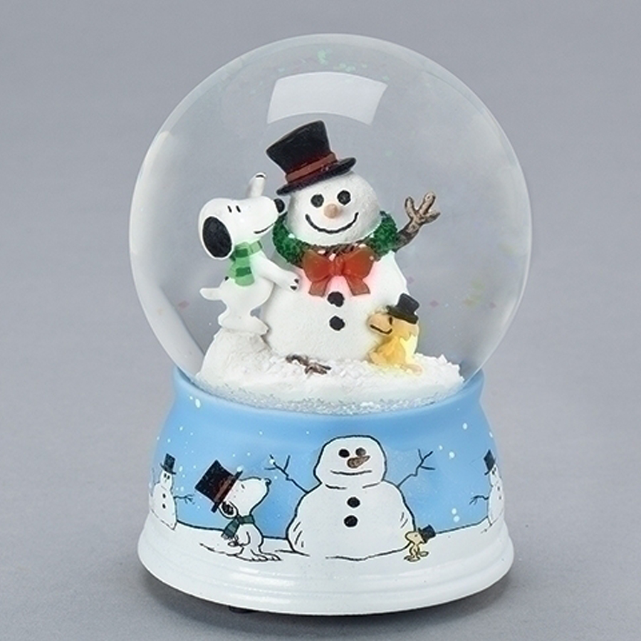 Snoopy-Woodstock-Snowman-Snow-Globe