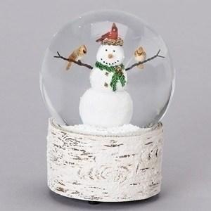 Snowman-Cardinal-Snow-Globe-Birch-Base