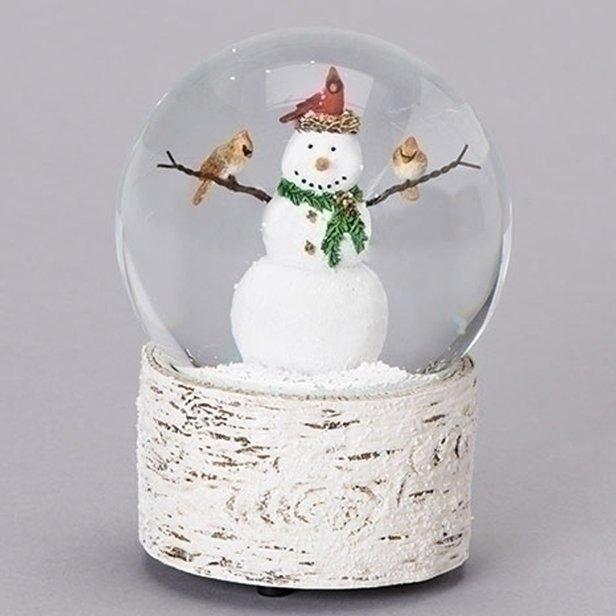 Snowman-Cardinal-Snow-Globe-Birch-Base