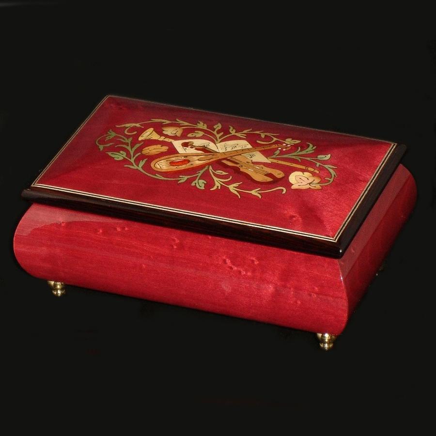 Italian-Inlay-Musical-Jewelry-Box-Wine-Red
