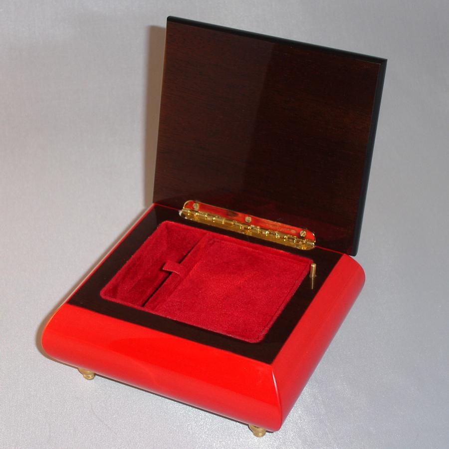 Italian Jewelry Box 17CC-Red-opened