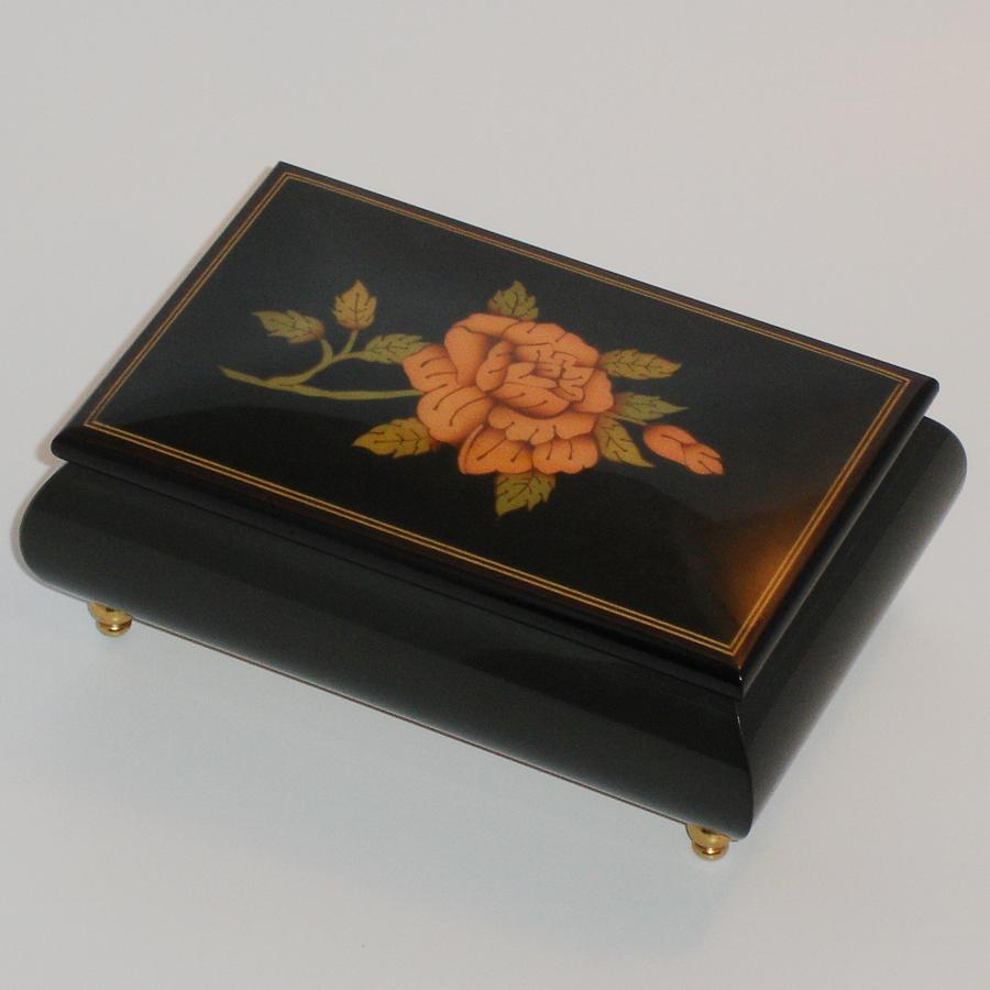 Italian-Inlay-Musical-Jewelry-Box-Black-Rose-SF