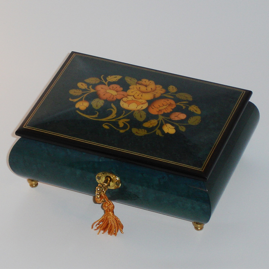 Italian-Inlay-Musical-Jewelry-Box-Dark-Blue-Floral