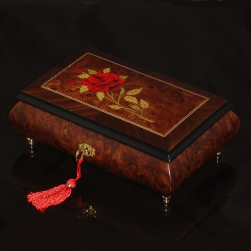 Italian-Inlay-Musical-Jewelry-Box-Red-Rose-Elm