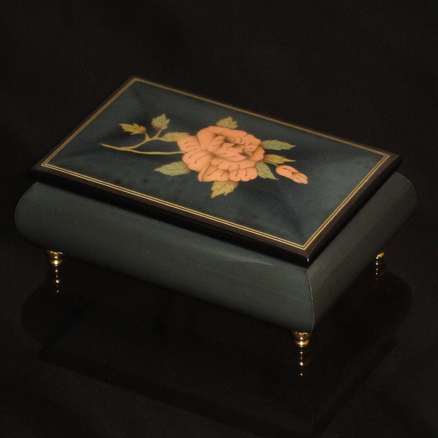 Italian-Inlay-Musical-Jewelry-Box-Rose-Steel-Gray