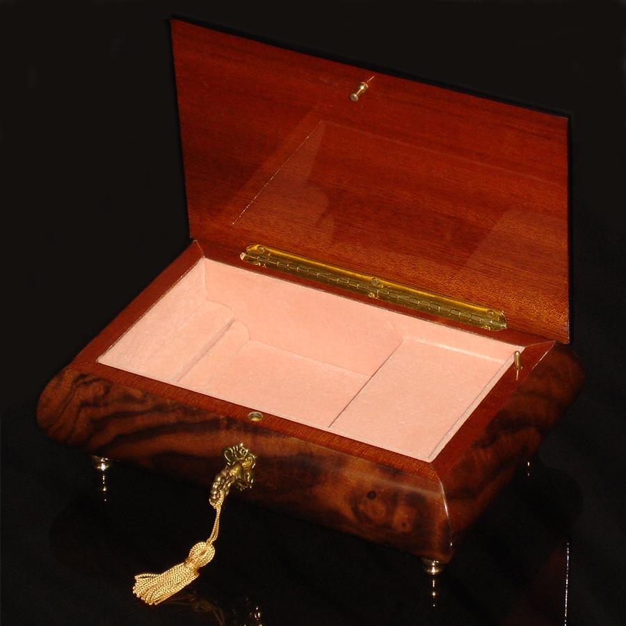 Italian-Inlay-Musical-Jewelry-Box-Burl-Walnut-open-Pink-Interior