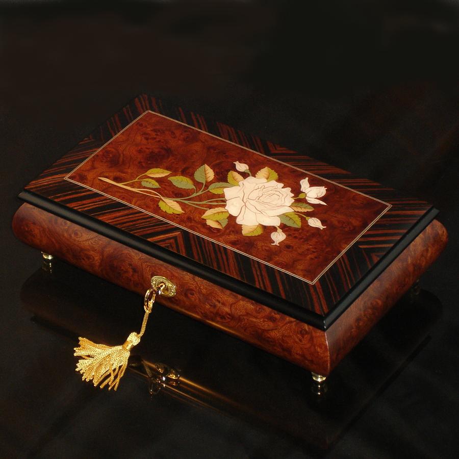 Italian-Inlay-Musical-Jewelry-Box-White-Rose-Olmo