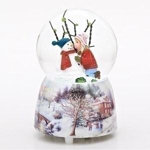 Child-Kissing-Snowman-Snow-Globe