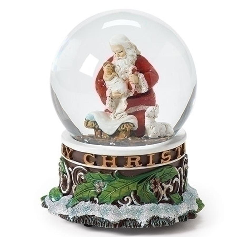 Kneeling-Santa-and-Jesus-snow-globe