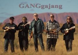 GANGgajang in front of Uluru with logo