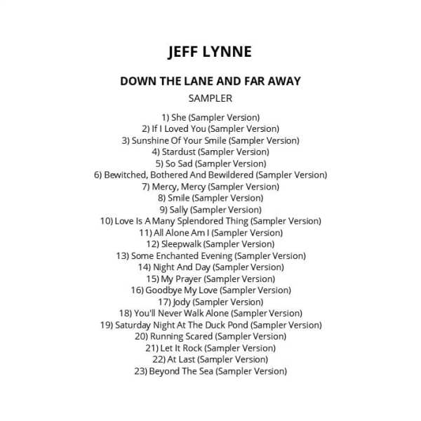 Jeff Lynne - Down The Lane And Far Away (Promo / Sampler) 2012) CD 1