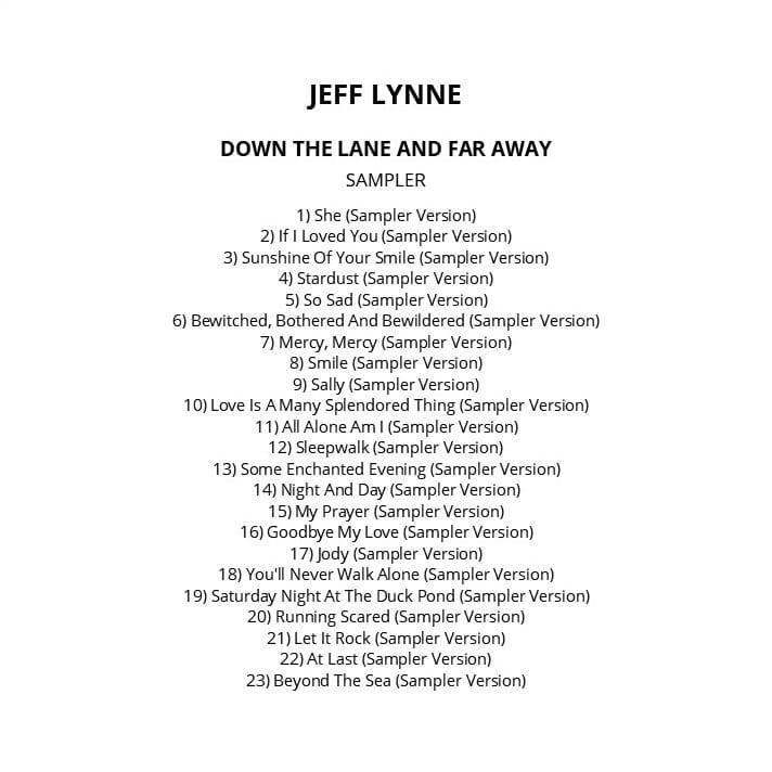 Jeff Lynne - Down The Lane And Far Away (Promo / Sampler) 2012) CD 10