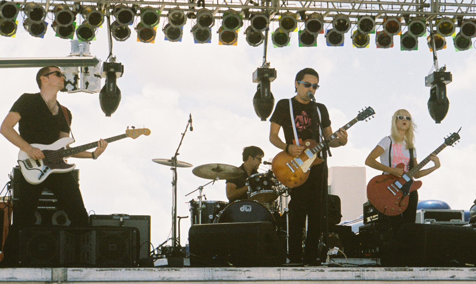 The Pretty Faces at Sunfest: (l-r) Phil Dunne (bass), Tom Thorslund (drums/vocal), Jeph Thorslund (guitar/vocals), Hannah Thorslund (guitar/vocals)