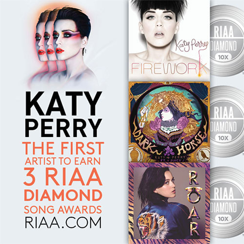 Katy Perry triple RIAA Diamond Song Awards